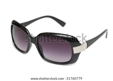 Sunglasses insulated on white background, violet lenses - stock photo
