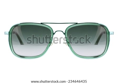 Sunglasses isolated on white background, Modern sunglasses, Green.