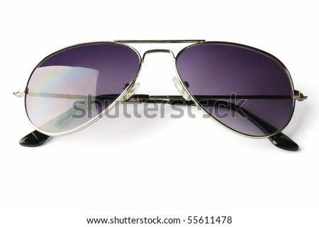 sunglasses lie on white background