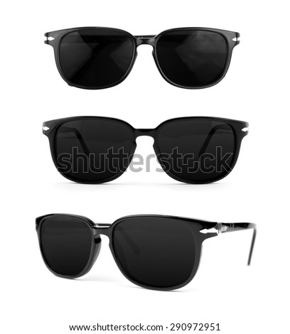 Sunglasses man set isolated on white background. In black plastic frame. Top view, front view and perspective view. Close up. - stock photo