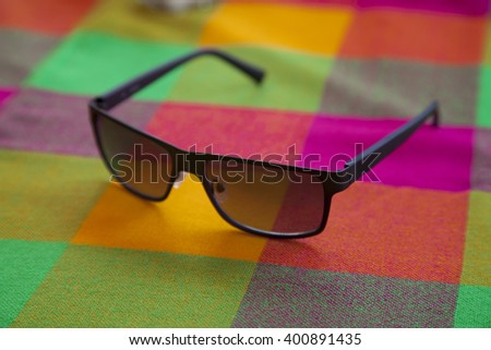 Sunglasses on a table