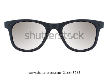 Sunglasses on white background isolated with black frame - stock photo