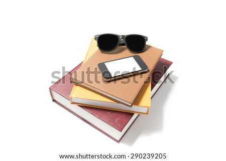sunglasses smartphone and stack of book isolated on white background