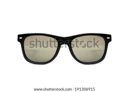 Sunglasses wayfarer shape isolated on white background, Modern sunglasses, Brown, Sepia. - stock photo