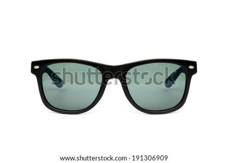 Sunglasses wayfarer shape isolated on white background, Modern sunglasses, Stems, Blue, Green. - stock photo