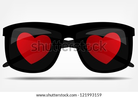 Sunglasses with a heart. Raster version. - stock photo