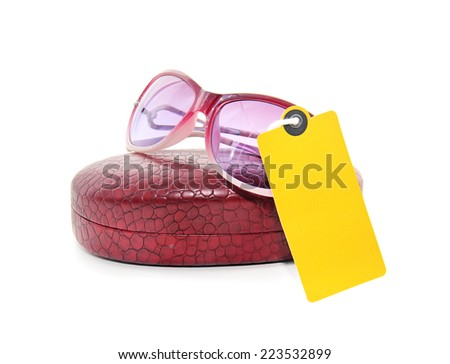 sunglasses with a label - stock photo