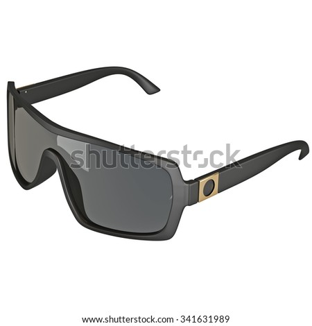 Sunglasses with large glass. 3D graphic isolated object on white background - stock photo