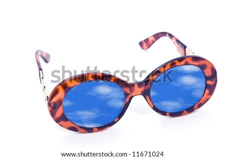 Sunglasses with summer sky reflection