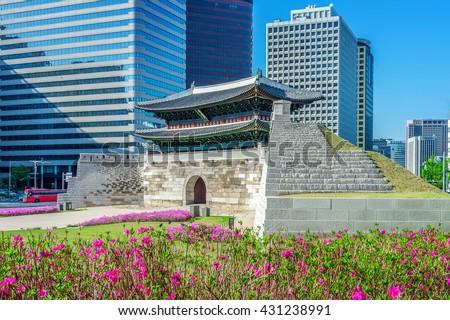Sungnyemun gate (Namdaemun Market) in Seoul, South korea - stock photo