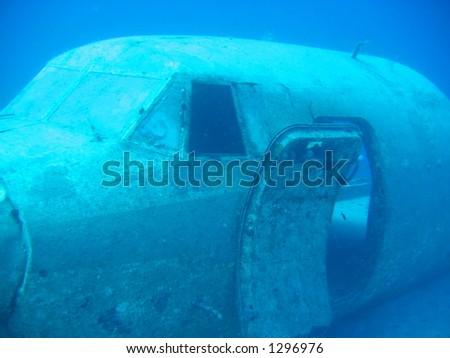 Sunken aircraft wreck off Jamaica - stock photo