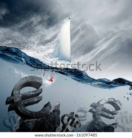 Sunken currency symbols with yacht floating above - stock photo