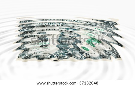 Sunken Dollar concept for weak currency - stock photo