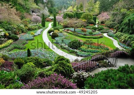 Sunken garden inside the historic butchart gardens in spring, victoria, british columbia, canada - stock photo