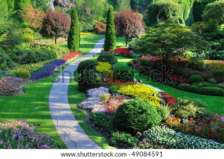 Sunken garden inside the historic butchart gardens (over 100 years in bloom), victoria, british columbia, canada