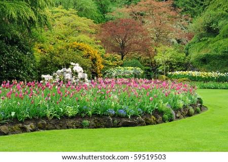 Sunken garden inside the historic butchart gardens, victoria, british columbia, canada - stock photo