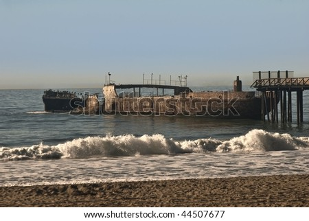 Sunken Ship at New Brighton State Beach at Santa Cruz, California