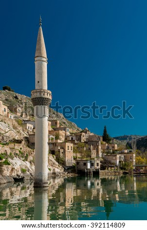 Sunken village Halfeti in Gaziantep Turkey - stock photo