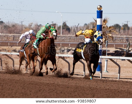 SUNLAND PARK, NM – JANUARY 29:   Nemo Oak (No. 4), Separate Signature (No. 5), and Jess Be Bad (No. 2) at the poll in the 2nd race during the Claiming Series on January 29, 2012 in Sunland Park, New Mexico.