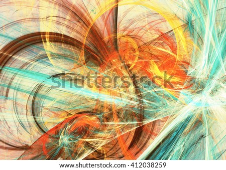 Sunlight. Abstract bright color motion composition. Modern futuristic dynamic background. Multicolor artistic pattern of paints. Fractal artwork for creative graphic design - stock photo