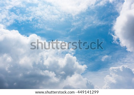 sunlight and blue sky with clouds - stock photo