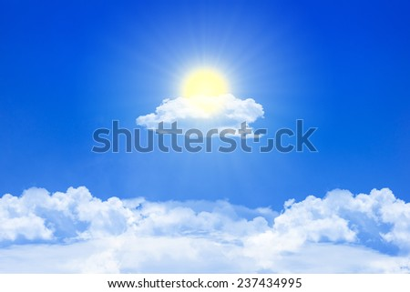 sunlight and clouds on the blue sky - stock photo