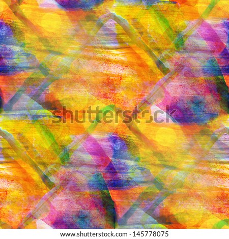sunlight background orange, blue ornament watercolor art seamless texture abstract brush