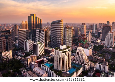 sunlight bangkok city skyline - stock photo