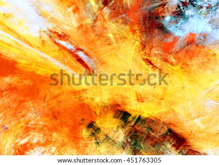 Sunlight. Bright dynamic background. Abstract painting texture in summer color. Modern artistic futuristic shiny pattern. Fractal artwork for creative graphic design - stock photo