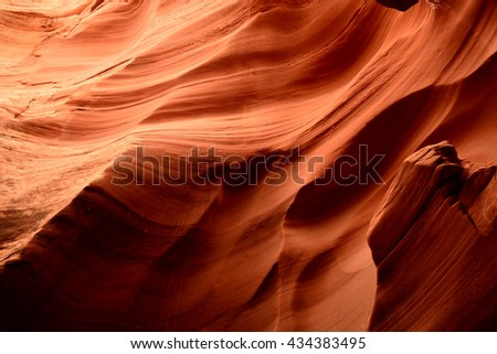Sunlight coming into Antelope Canyon on the Navajo Indian reservation in Northern Arizona - stock photo