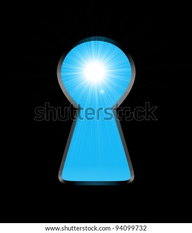 Sunlight from the keyhole on a black background