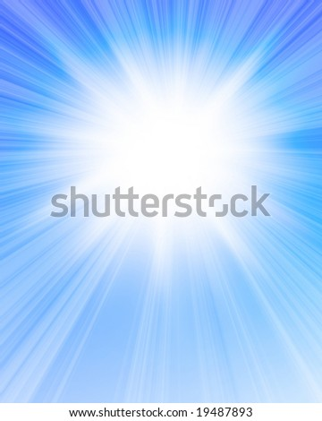 Sunlight in a clear soft blue sky