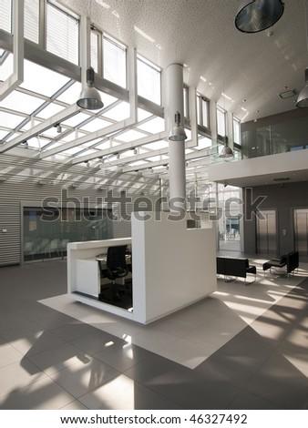 sunlight in modern lobby interior - stock photo