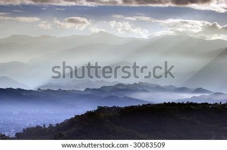 sunlight in mountain - stock photo