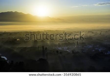 sunlight in myanmar - stock photo