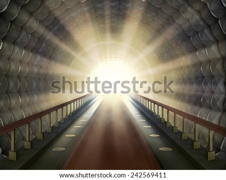 Sunlight in the end of the tunnel. - stock photo