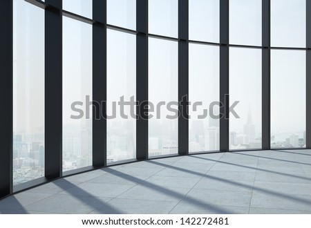 sunlight interior and big window - stock photo