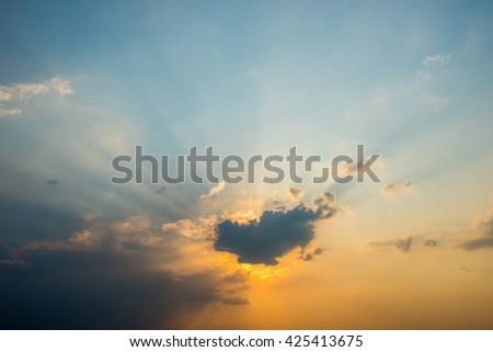 sunlight, rays light, sun rays are striking through the clouds - stock photo
