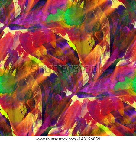 sunlight seamless painting purple red green yellow watercolor with bright brushstrokes and blotches - stock photo