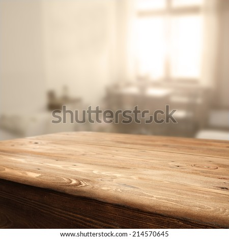 sunlight table and free space  - stock photo