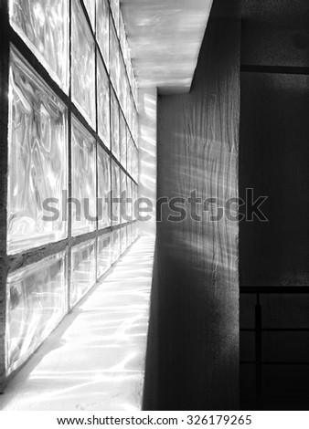 Sunlight through the glass wall