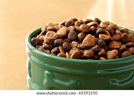 Sunlit bowl of healthy dog food on wood floor.  Macro with shallow dof. - stock photo