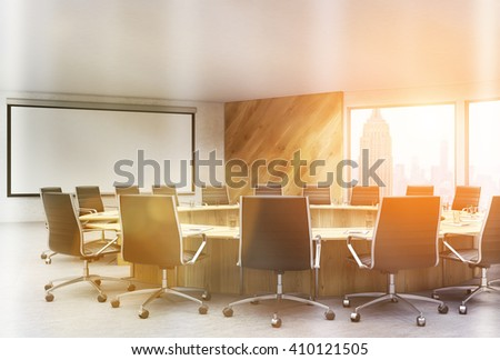 Sunlit conference room interior with blank whiteboard and New York city view. Toned image. Mock up, 3D Rendering