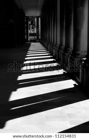 Sunlit corridor Royal Naval College Greenwich London - stock photo