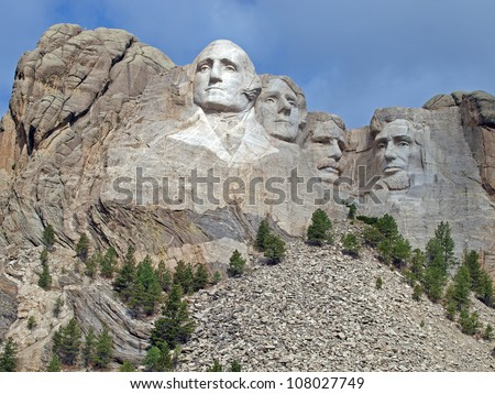 Sunlit image of George Washington, the founding father, at Mt. Rushmore National Memorial, Keystone, South Dakota