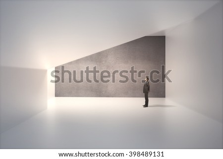 Sunlit interior design with blank dark concrete wall and thoughtful caucasian businessman. Mock up, 3D Rendering