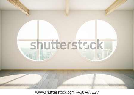 Sunlit interior design with wooden floor and circular windows revealing city view. 3D Rendering