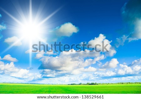 Sunlit Landscape Sunshine Scene - stock photo