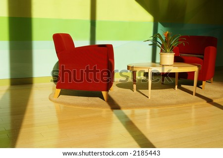 Sunlit living room - stock photo