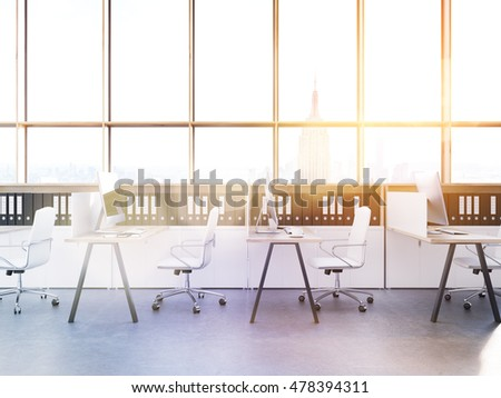 Sunlit office with tables, chairs and binders in shelves. Concept of contemporary employer on stock market. New York city view. 3d rendering. Toned image.
